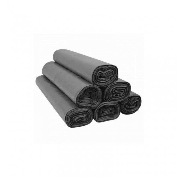Aglo3 - Worki na śmieci z tasiemką, mocne, czarne, folia recyklingowa LDPE, 10 sztuk - 120 l