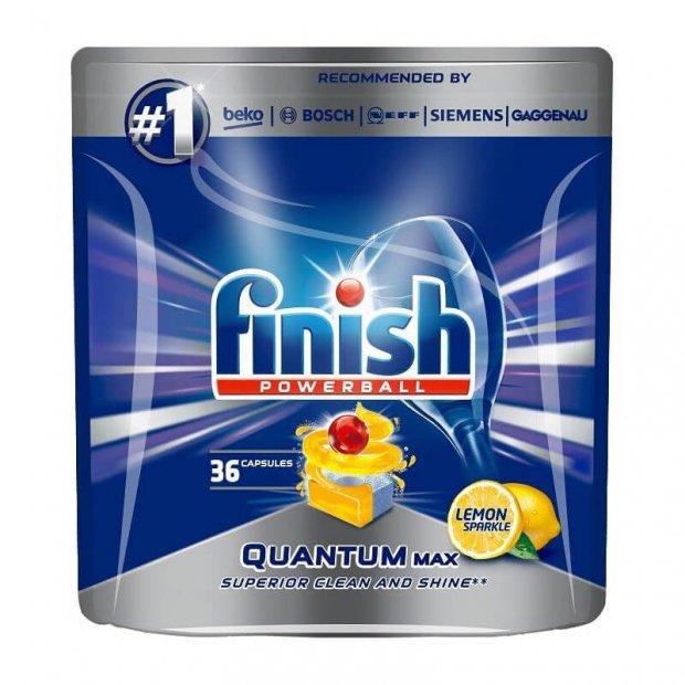 Finish Quantum Max Lemon – Tabletki czyszczące do zmywarek, cytrynowe – 36 sztuk