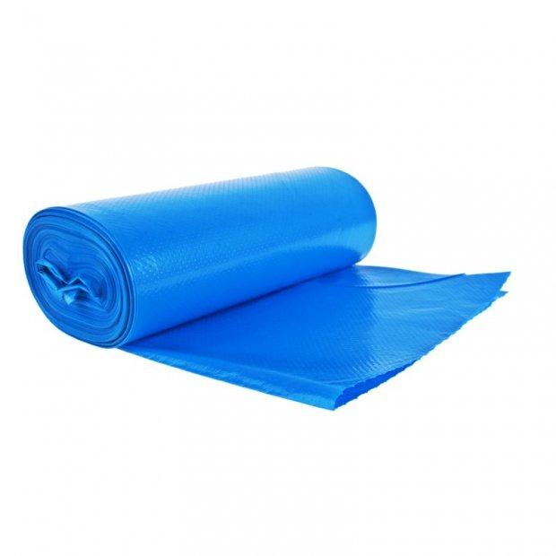 Aglo3 - Worki na śmieci papierowe, niebieskie, ekstra mocne, folia recyklingowa LDPE, 25 sztuk - 120 l