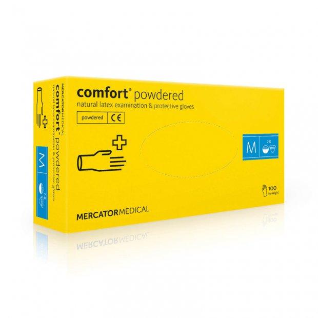 Comfort Powdered – Rękawiczki diagnostyczne, lateksowe, pudrowane, kremowe, 100 sztuk – M