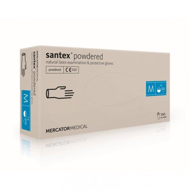 Santex Powdered – Rękawiczki diagnostyczne, lateksowe, pudrowane, kremowe, 100 sztuk – M