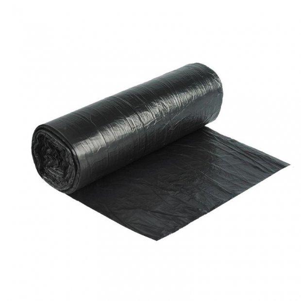 Aglo3 - Worki na śmieci, czarne, folia recyklingowa HDPE, 50 sztuk - 60 l